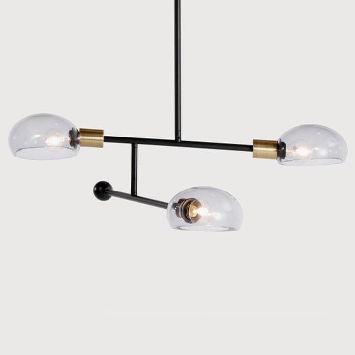 Tangle Pendant Light; Brass/ Smoked Glass
