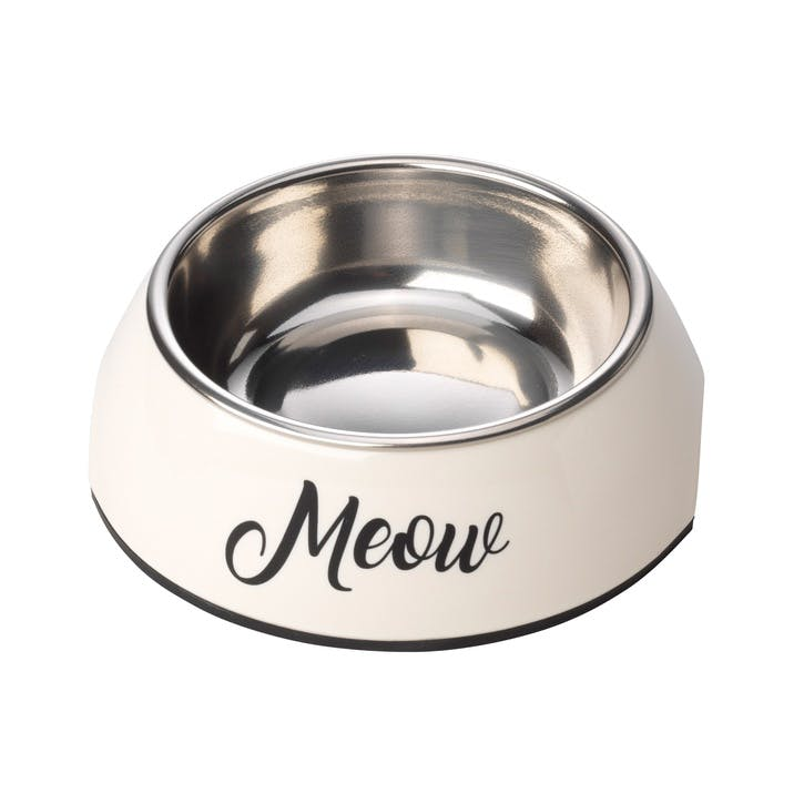 Meow 2 in 1 Cat Bowl, S, Cream