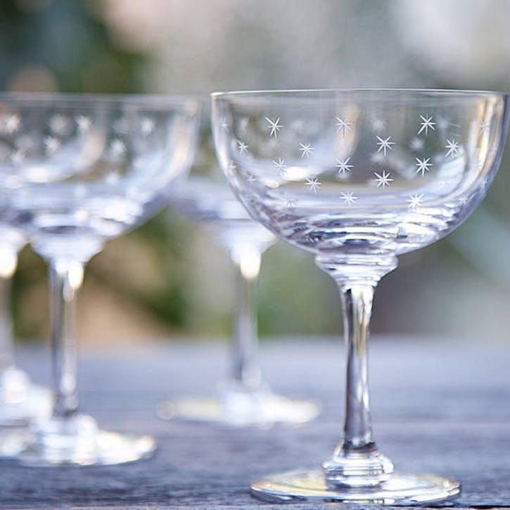 Stars Crystal Champagne Coupes, Set Of 6