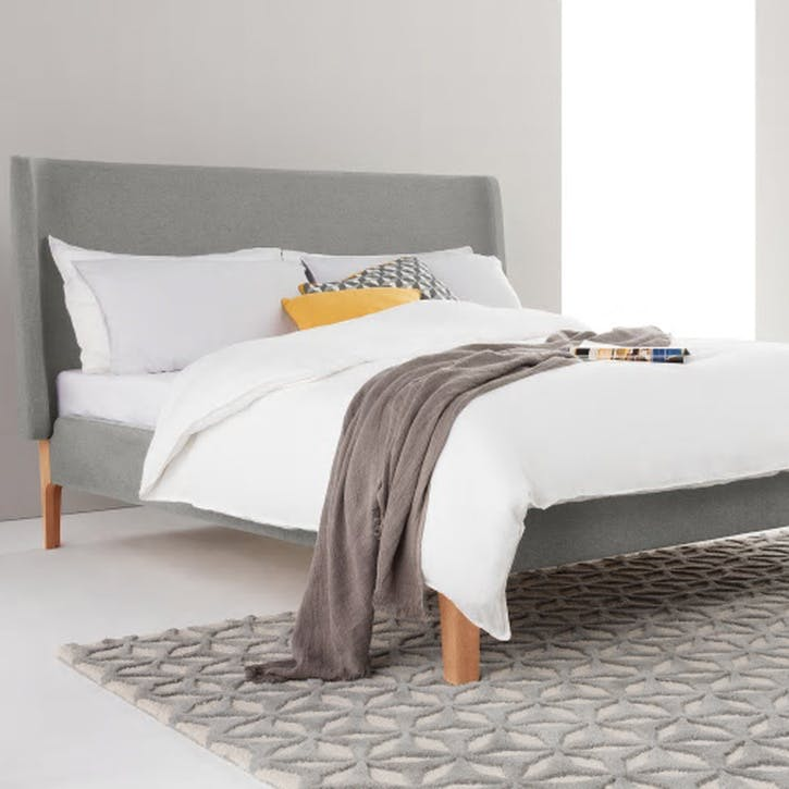 Roscoe Upholstered Bed - Double; Grey