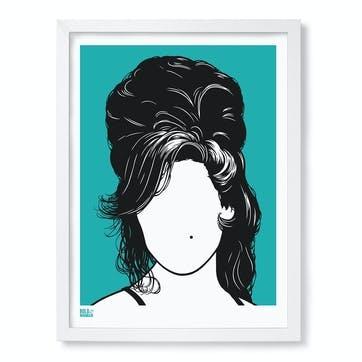 Amy Winehouse Screen Print, 30cm x 40cm, Jade Green