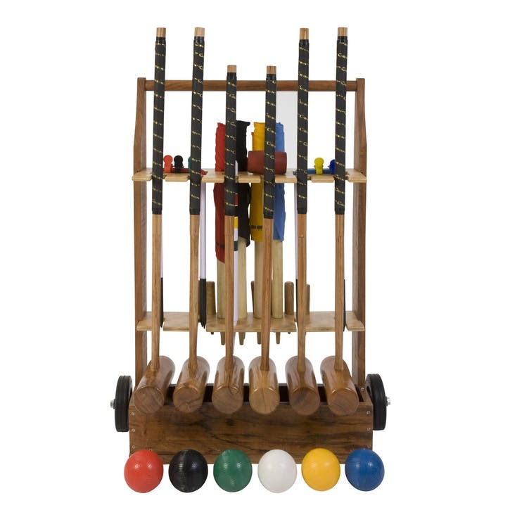 6 Player Croquet Set with Wooden Storage Trolley
