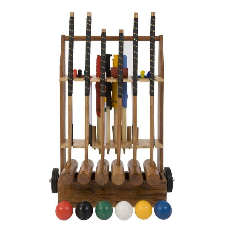 6 Player Croquet Set with Wooden Storage Trolley