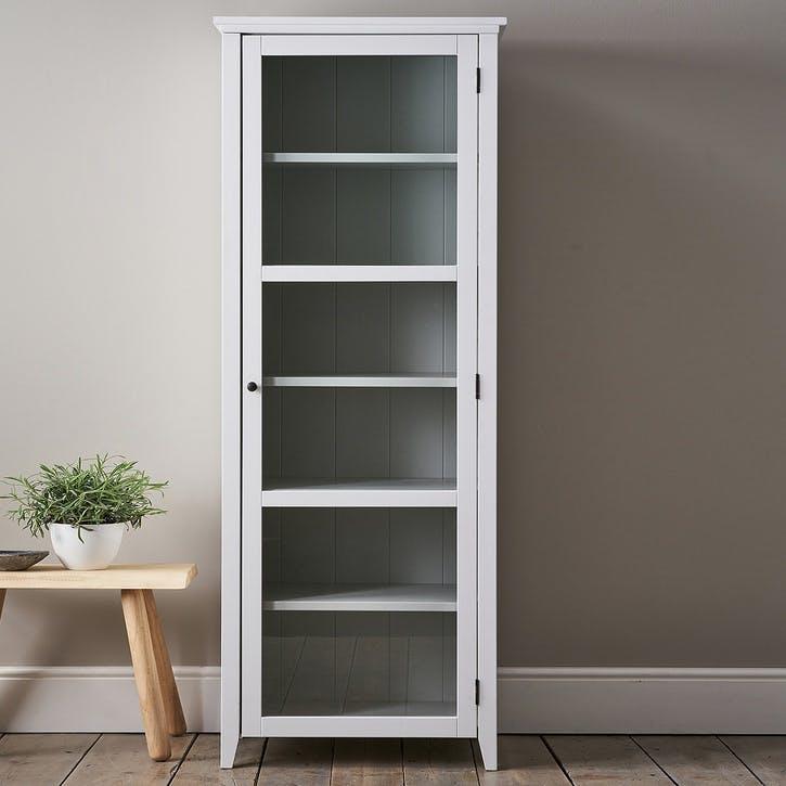 Narrow Glass Storage Unit, White Grey