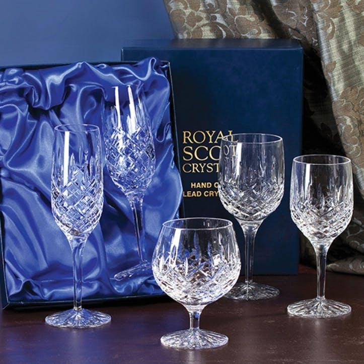 London Large Crystal Wine Glasses, Set of 6