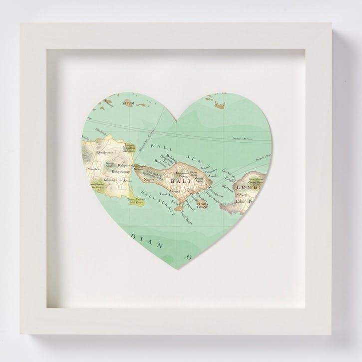 Bali Framed Map Print, 28cm