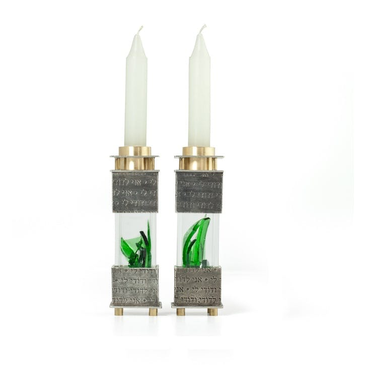 Crushed Wedding Glass Candlesticks