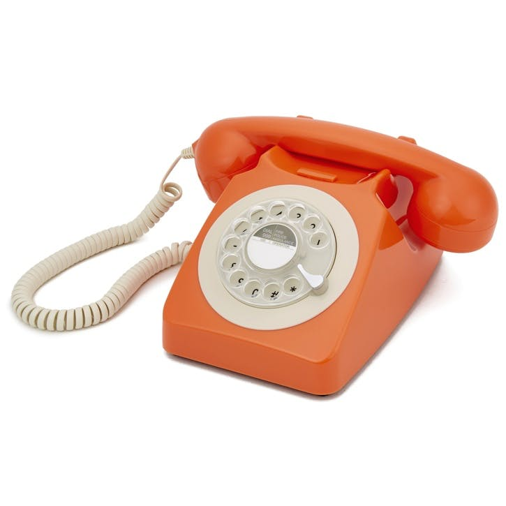 746 Rotary Telephone; Orange