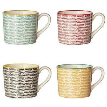 Herrinko Stoneware Mugs, Set of 4, Multi