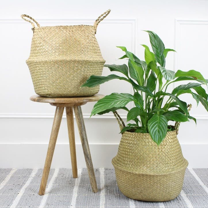 Set of 2 Seagrass Baskets; Natural