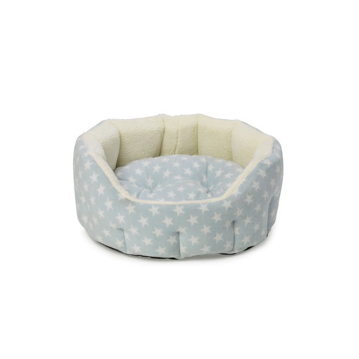 Star Print Oval Fleece Lined Snuggle Pet Bed, S, Baby Blue