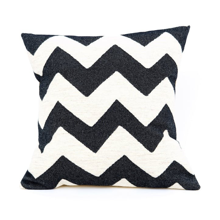 Chevy Cushion - 40cm; Black/Linen