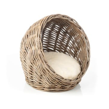 Rattan Hooded Cat Bed