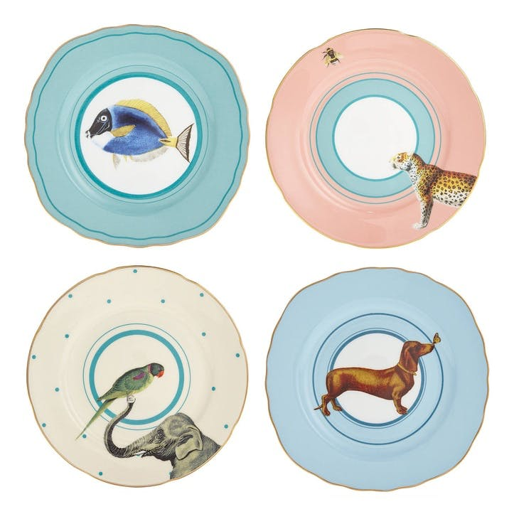 Colourful Animal Cake Plates, Mixed Set of 4