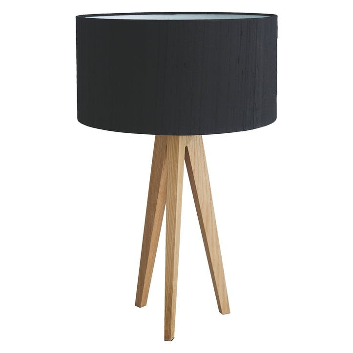 Tripod Ash Wooden Table Lamp with Black Silk Shade