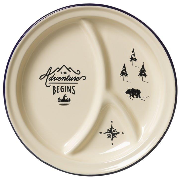 Adventure Begins Enamel Divided Plate, Cream