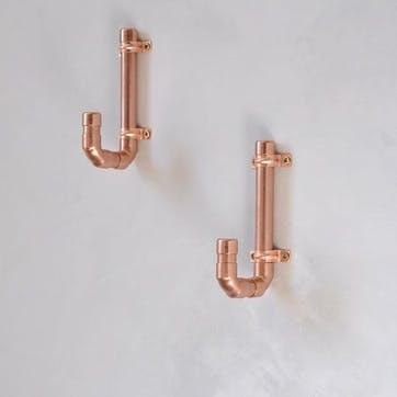 Industrial Copper Coat Hook - 13 x 6.5cm; Copper