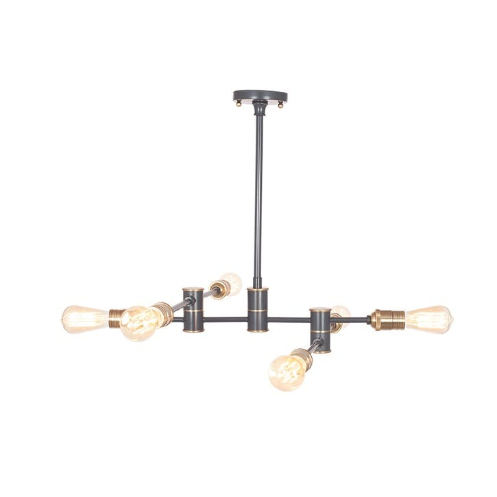 Aquila Five Light Pendant; Black & Brass