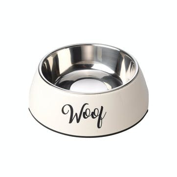 Woof 2 in 1 Dog Bowl, L, Cream