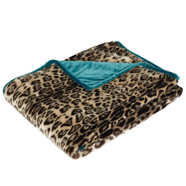 Faux Fur Throw, Leopard/Dark Teal