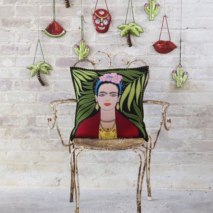 Frida Kahlo Cushion, Black