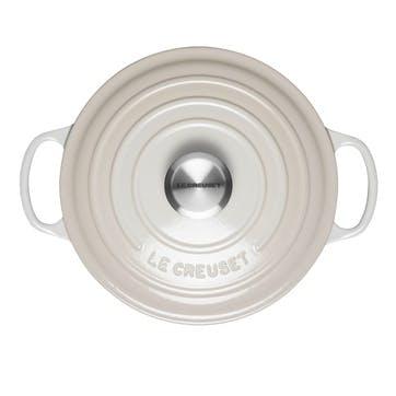 Signature Cast Iron Round Casserole, 24cm, Meringue