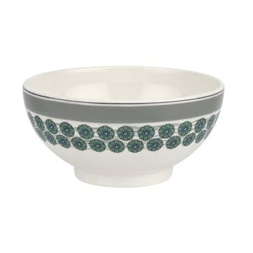 """Westerly Cereal Bowl, Set of Four - 6""""; Grey Band"""