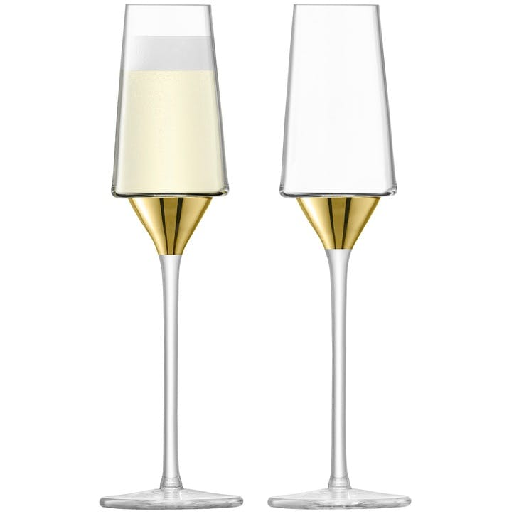 Space Set of 2 Champagne Flutes; Gold