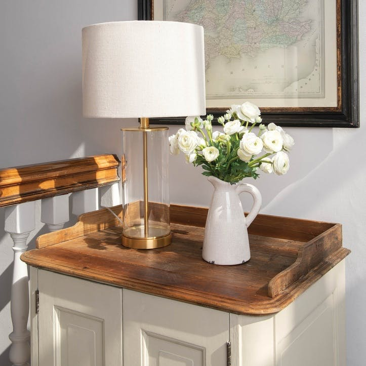 Brass and Glass Cylinder Table Lamp