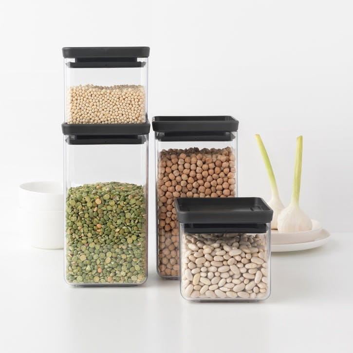 Tasty+ Stackable Square Canisters, Set of 4, Light Black Lids