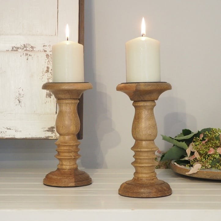 Natural Wood Pillar Candle Holder
