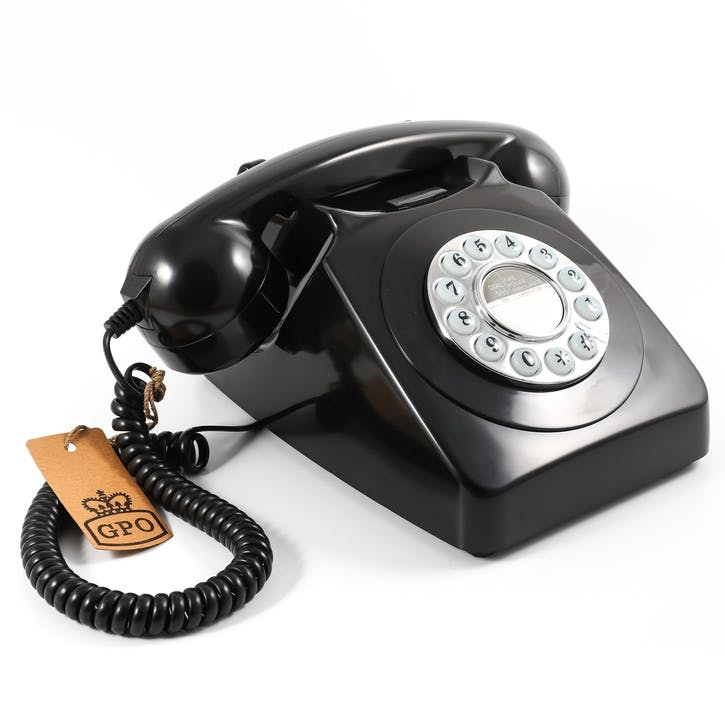 746 Push Button Telephone; Black