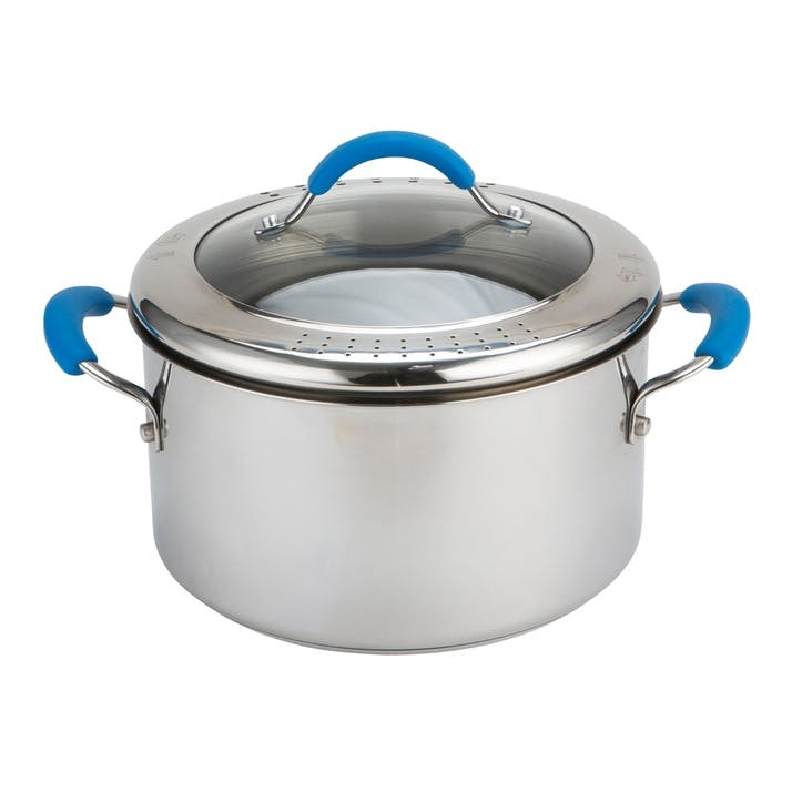Quick & Even Stainless Steel Stockpot with Strainer Lid; Blue