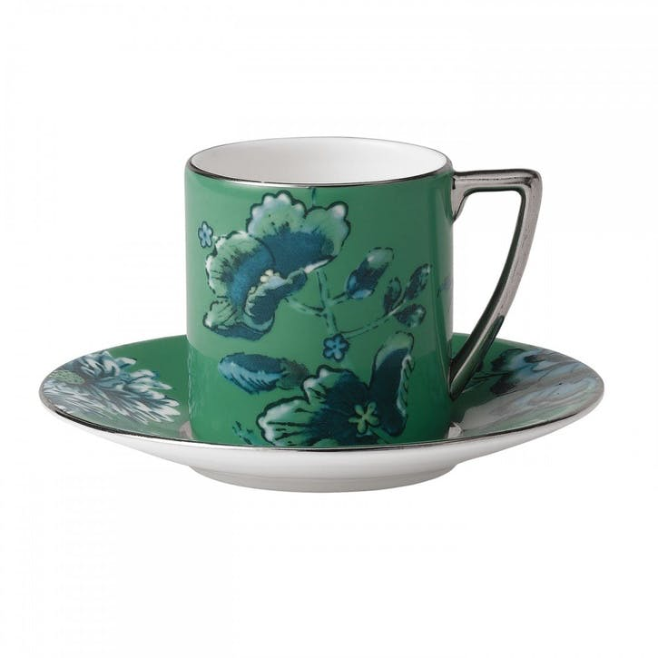 Chinoiserie Espresso Saucer, Green