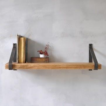 Manhattan Industrial Wood Shelf - 50 x 22cm; Natural