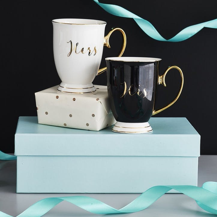 His & Hers Mugs Set of 2 - Black/White