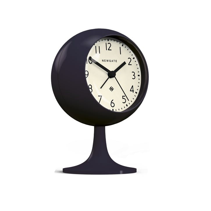The Dome Alarm Clock, Dia. 12cm, Petrol Blue/White