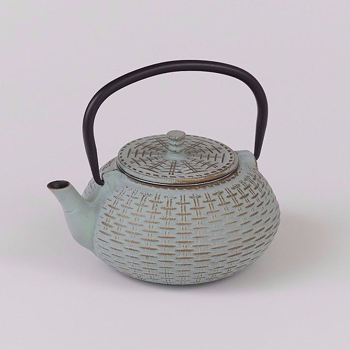 Cast Iron Teapot, Bamboo