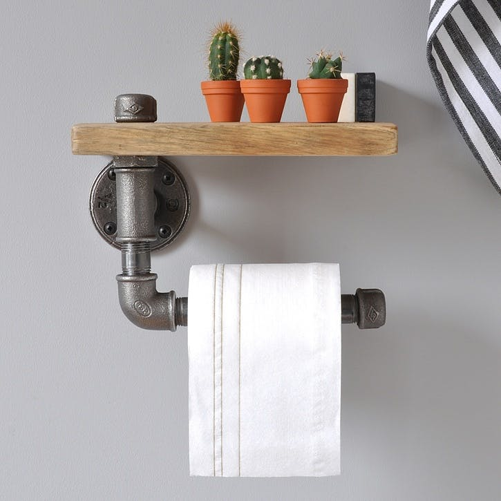 Industrial Toilet Roll Holder And Shelf - 22 x 18cm; Natural