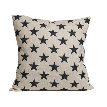 Antares Star Cushion Black On Linen, 60cm
