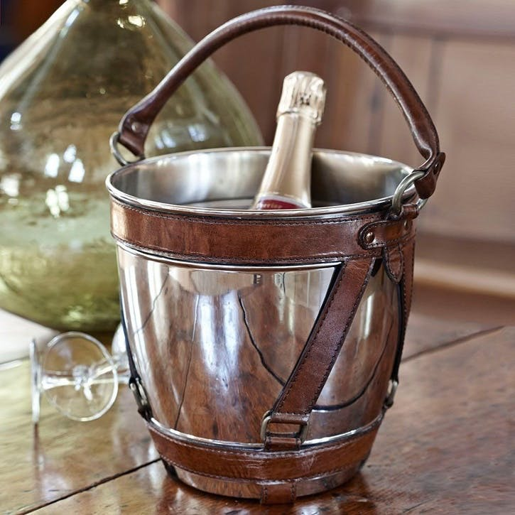 Leather & Nickel Champagne Cooler