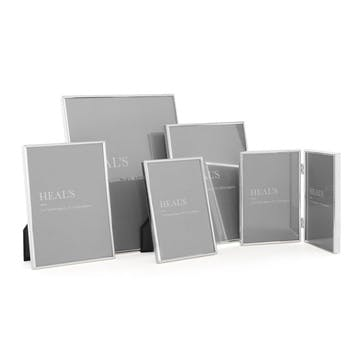 Simple Silver Double Photo Frame, 10 x 30cm