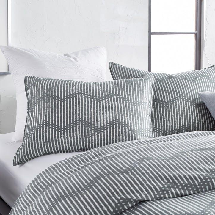 Dot Chevron Standard Pillowcase, Grey