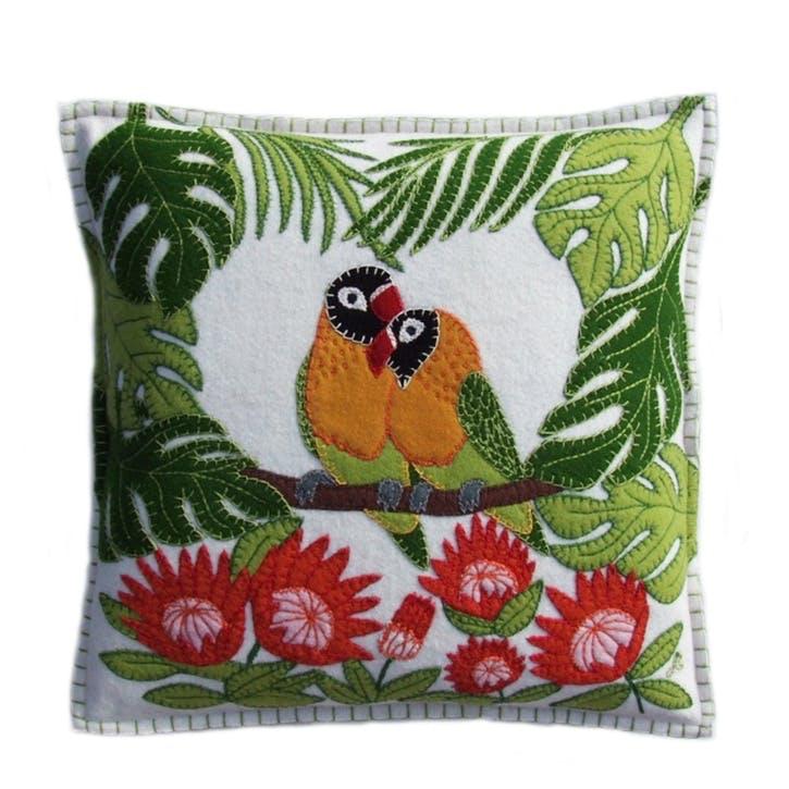 Tropical Love Birds Cushion, Cream