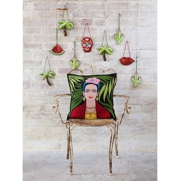 Tropical Frida Kahlo Cushion, 46 x 46cm, Black