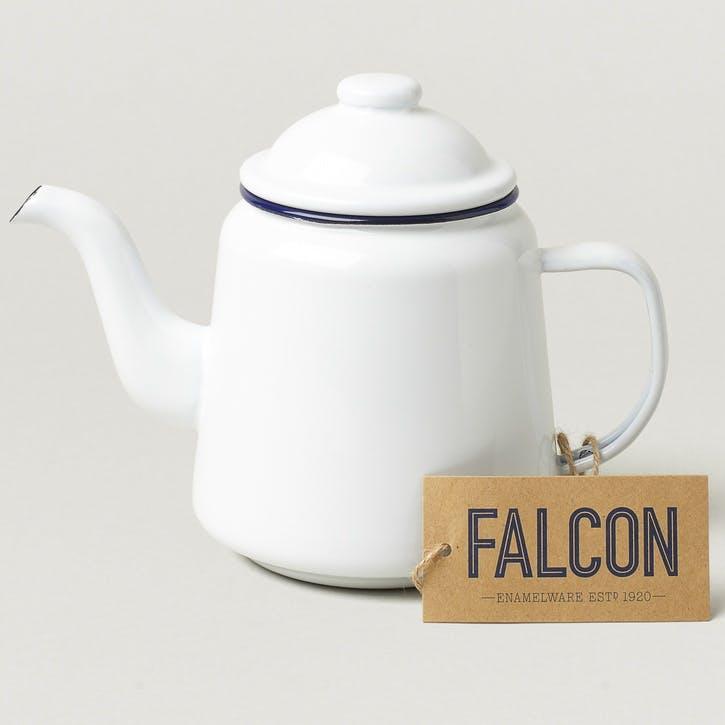 Teapot, White with Blue Rim