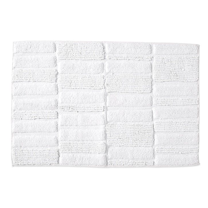 High Rise Jacquard Bath Mat, White/Grey