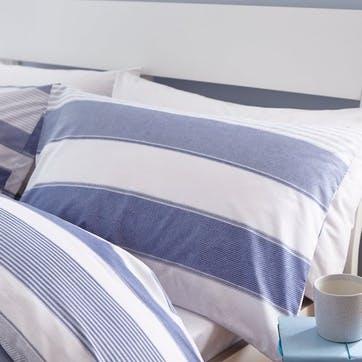 Newquay Stripe Double Bedding Set; Blue
