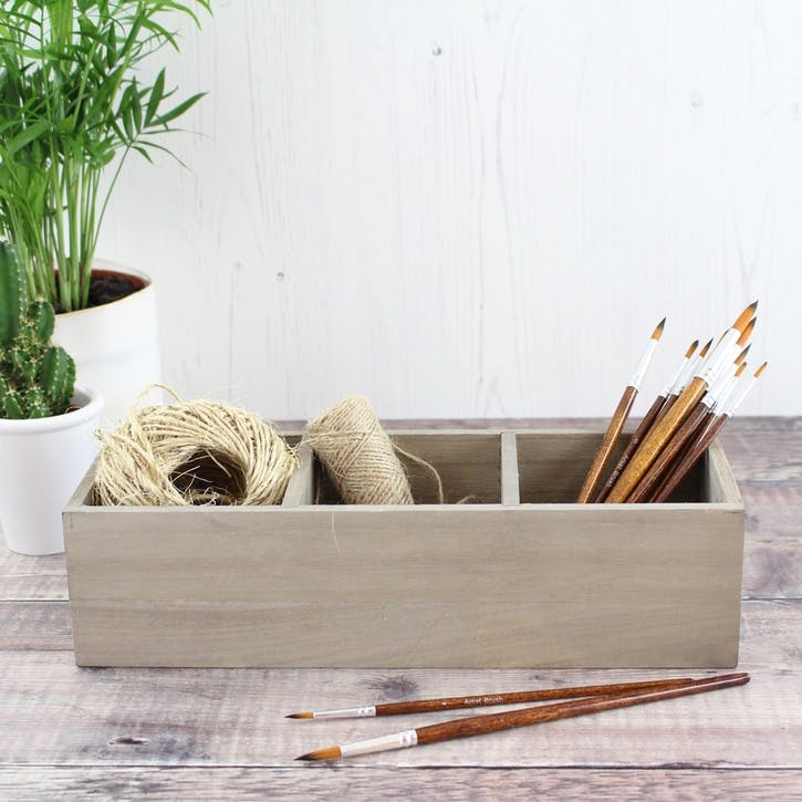 Three Compartment Wooden Tray