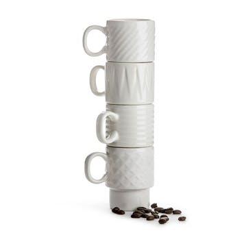 Coffee & More, Espresso Mug, Set of 4, White